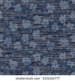 Bleach Knitted Marl Variegated Heather Texture Background. Denim Gray Blue Blended. Faded Acid Wash Seamless Pattern. For Woolen Fabric, Tie Dye Effect Textile, Melange All Over Print. Vector Eps 10