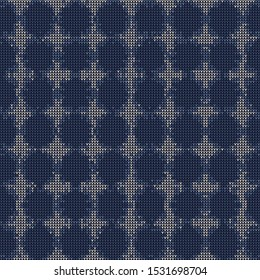 Bleach Knitted Marl Variegated Heather Texture Background. Denim Gray Blue Blended. Faded Acid Wash Seamless Pattern. Polka dot Tie Dye Effect Textile, Melange All Over Print. Vector Eps 10