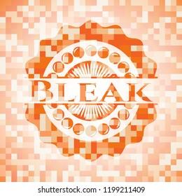 Bleak abstract orange mosaic emblem