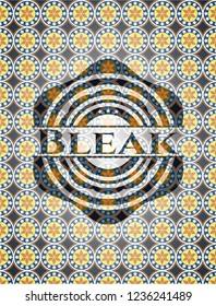 Bleak arabic badge. Arabesque decoration.