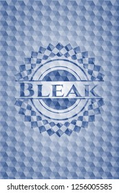 Bleak blue emblem or badge with abstract geometric polygonal pattern background.