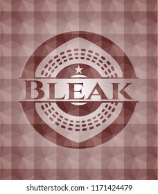 Bleak red emblem or badge with abstract geometric pattern background. Seamless.