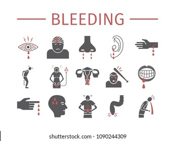 Bleeding icons set. Infographic. Vector signs for web graphics.