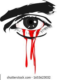 Bleeding left eye vector one eye