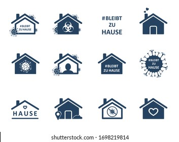 Bleibt zu hause. Stay home in Germany. Set of social media sticker of self-isolation. Distancing measures to prevent virus spread. Vector icon covid19 for apps, highlight cover or stories template.