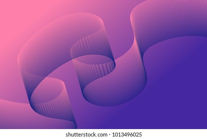 Blend. Color Wavy Lines on Gradient Background. Abstract Vector Illustration. Abstract Wave Created Using Blend Tool. Color Waved Lines for Banner, Website, Flyer Design, Web Design. Color Blend.