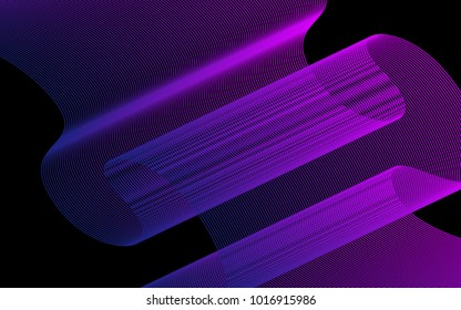 Blend. Color Wavy Lines on Black Isolated Background. Abstract Vector Illustration. Creative Wave with Lines Created Using Blend Tool. Color Waved Lines for Banner, Website, Flyer Design, Web Design.