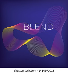 Blend gradient illustration with lines. 3d abstract violet geometrical template with blend shapes. Design element waves.