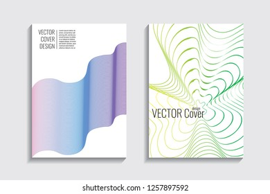 Blended covers, gradient wavy line shapes. Futuristic minimal design. Abstract cyber background. Modern visual effect. Repeating lines. For poster, layout, placard, grunge paper, card, book