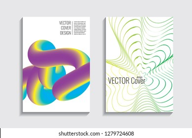 Blended covers, gradient wavy line shapes. Futuristic minimal design. Warm-colored bionic background. Modern visual effect. Repeating lines. For poster, layout, placard, grunge paper, card, book