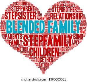 Blended Family word cloud on a white background.