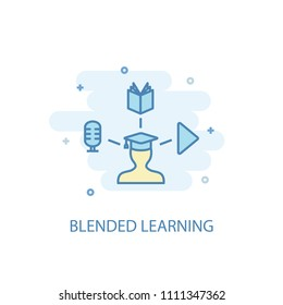 Blended Learning concept trendy icon. Simple line, colored illustration. Blended Learning concept symbol flat design from eLearning  set. Can be used for UI/UX