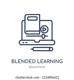 blended learning icon. blended learning linear symbol design from Education collection.