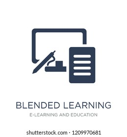 blended learning icon. Trendy flat vector blended learning icon on white background from E-learning and education collection, vector illustration can be use for web and mobile, eps10