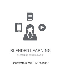 blended learning icon. Trendy blended learning logo concept on white background from E-learning and education collection. Suitable for use on web apps, mobile apps and print media.