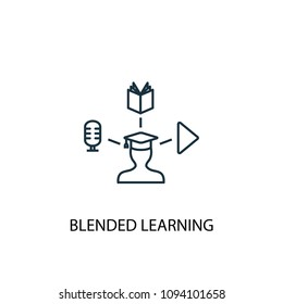 Blended Learning line icon. Simple element illustration. Blended Learning symbol design from eLearning collection. Can be used in web and mobile.