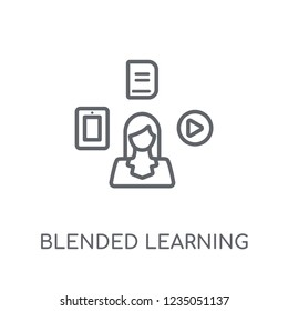 blended learning linear icon. Modern outline blended learning logo concept on white background from E-learning and education collection. Suitable for use on web apps, mobile apps and print media.