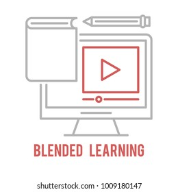 Blended learning outline icon