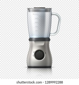 Blender. Empty juicer or food mixer. Isolated kitchen electric appliance. Realistic vector illustration