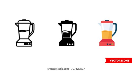 Blender icon of 3 types: color, black and white, outline. Isolated vector sign symbol.