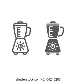 Blender line and glyph icon, appliance and kitchen, mixer sign, vector graphics, a linear pattern on a white background, eps 10.