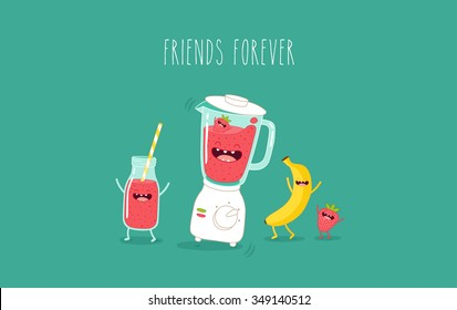 Blender making fruits smoothie. Vector illustration