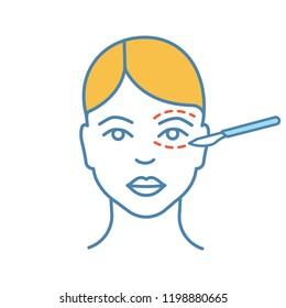 Blepharoplasty color icon. Eyelid plastic surgery. Eye lift surgery. Surgical facial rejuvenation. Isolated vector illustration