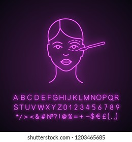 Blepharoplasty neon light icon. Eyelid plastic surgery. Eye lift surgery. Surgical facial rejuvenation. Glowing sign with alphabet, numbers and symbols. Vector isolated illustration