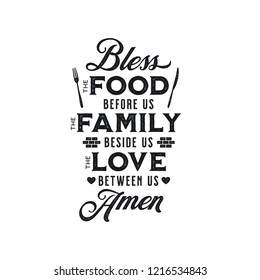 Bless the food kitchen typography wall art poster. Vector vintage illustration.