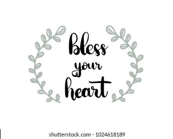 bless your heart calligraphy hand lettering vector