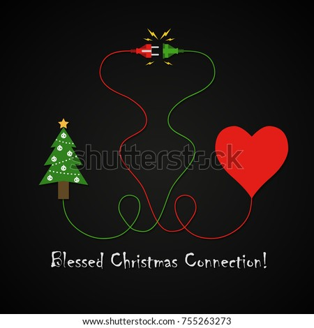 Blessed Christmas Connection Between Christmas Tree Stock Vector ...