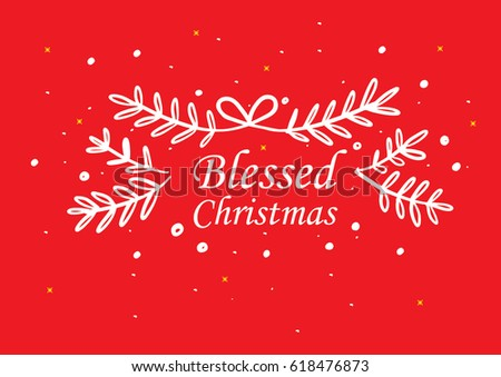 Blessed Christmas Greeting Card Design Hand Stock Vector (Royalty ...