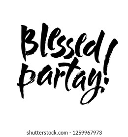 Blessed - hand drawn Autumn seasons Thanksgiving holiday lettering phrase isolated on the white background. Fun brush ink vector illustration for banners, greeting card, poster design
