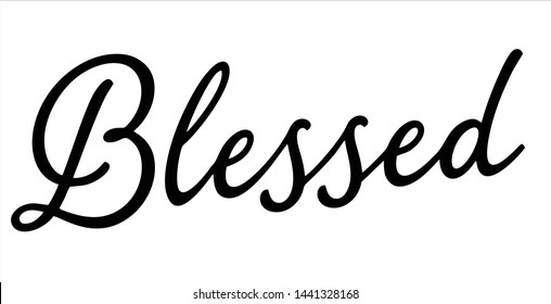 Blessed lettering typography font vector logo templete