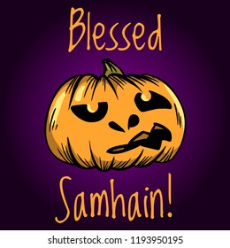 Blessed Samhain greeting card. Halloween banner or poster.