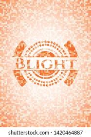 Blight abstract orange mosaic emblem with background