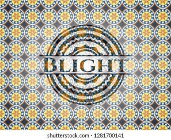Blight arabic style badge. Arabesque decoration.