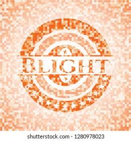 Blight orange mosaic emblem with background
