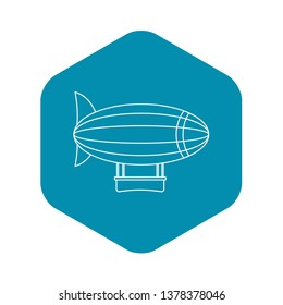 Blimp aircraft flying icon. Outline illustration of blimp aircraft flying vector icon for web