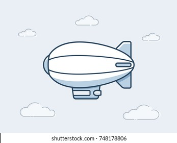 Blimp or zeppelin aircraft flying in the the sky. Vector icon in monoline style illustration
