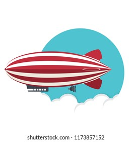 Blimp, Zeppelin, flat style airship icon, vector