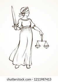 Blind fair justitia lady figure on white courtroom paper background. Old classic civil greek Femida statue pictogram. Black line draw jurisdiction order logo emblem sketch in ancient art cartoon style