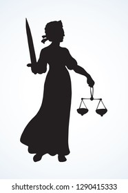 Blind fair justitia lady figure on white paper background. Old classic civil jail Femida female statue pictogram. Black draw jurisdiction wisdom order libra logo emblem in ancient art engrave style