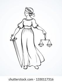 Blind fair justitia lady figure on white courtroom background. Old classic civil Femida statue pictogram. Black line draw jurisdiction order guard sword logo sword emblem sketch in art cartoon style