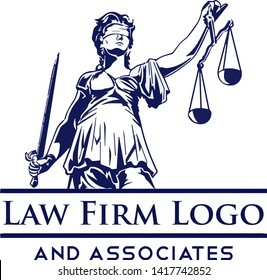 Blind Folded Justice Lady with Sword and Scale Vector Logo Concept