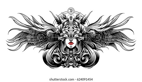 a blind girl in a heavy helmet warrior
