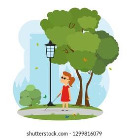 blind girl walks in a city park. vector illustration