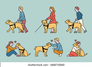 A blind guide dog and a blind person walking with his help. They are making friendships with each other. flat design style minimal vector illustration.