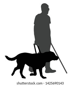 Blind man with cane and guide dog