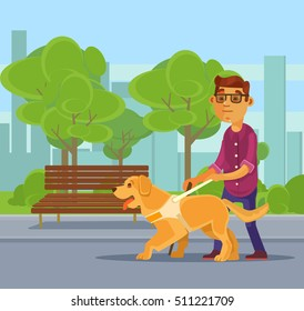 Blind man character walking with guide dog character. Vector flat cartoon illustration